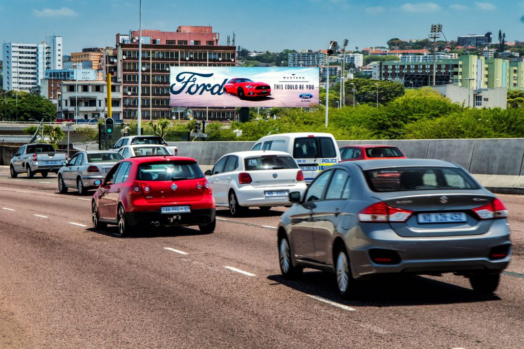 Large format digital billboard on busy highway site in Durban